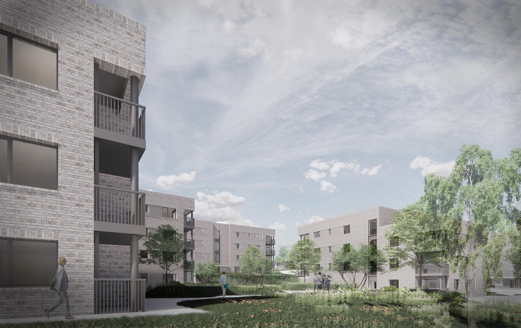 peak architects opil apartment block courtyard small