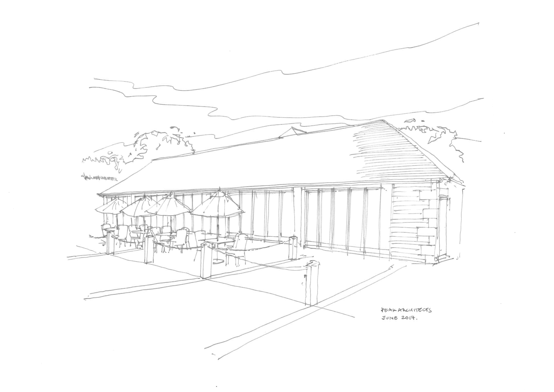 peak architects chatsworth farm shop sketch